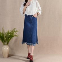 blue denim midi skirt with tassels 2016 fashion clothing high waist A-line summer blue fringe vintage maxi skirt for women