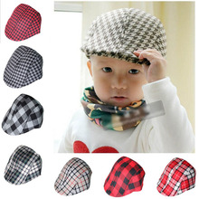 20 Colors Spring/Autumn Kids Fashion Berets Plaid Hats For Baby Boy Girl Hat Children Sunhat Baby Boys Caps 2-8 years LH085(China (Mainland))
