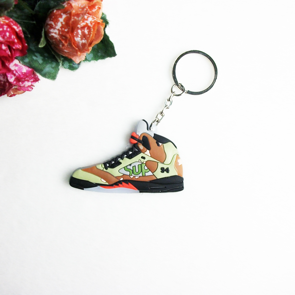 Grapes Jordan 5 Supreme Keychain, Silicone Sneaker Key Chain Key Ring Key Holder for Woman and Girl Gifts Porte Clef(China (Mainland))