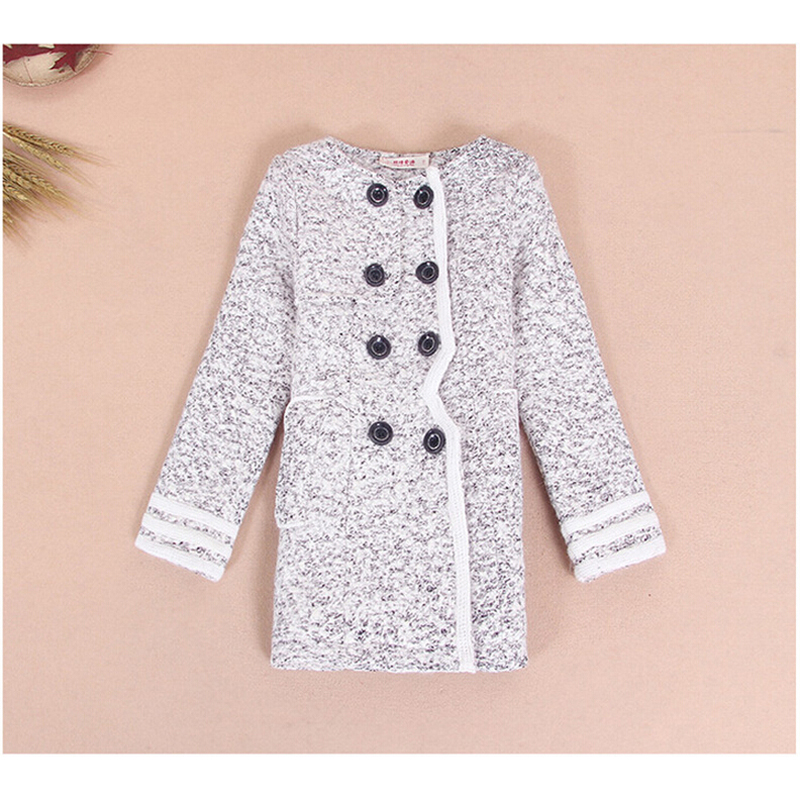 Buenos Ninos 2015 Fashion Baby Girls Winter Woolen Coats Kids Double-breasted Hit Color Patchwork O-Neck Long Grey Outerwear<br><br>Aliexpress