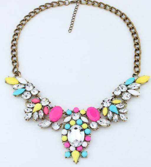 Star Jewelry Fashion 6 colors Brand Flower Choker Luxury Rhinestone Necklaces Women 2015 New necklaces & pendants - Mamojko Store store