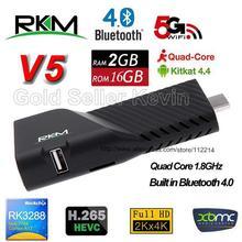 Rikomagic RKM V5 Mini PC RK3288 4K Android 4.4 TV Box Quad Core 2G 16G H.265 XBMC Bluetooth Dual Wifi Smart Dongle Google IPTV