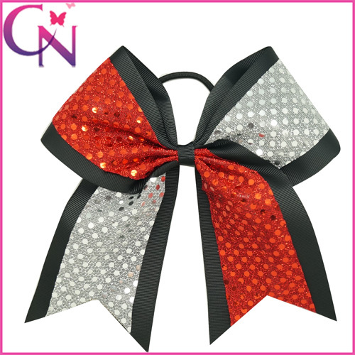 """8"""" Large Sequin Grosgrain Ribbon Cheer Bow Boutique Silver+Red Sequin Cheerbows with Elastic Band Free Shipping CNEHB1504181-3(China (Mainland))"""
