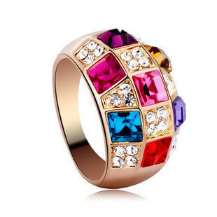 1pcs Ring Free Shipping 18k Gold Plated With Colorful Genuine Swa Elements Crystals From Austria Queen Jewelry, 3pics/lot
