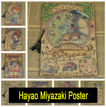 Buy Hayao Miyazaki Vintage retro kraft paper poster Japanese anime cartoon children's room decorative painting posters for $1.50 in AliExpress store