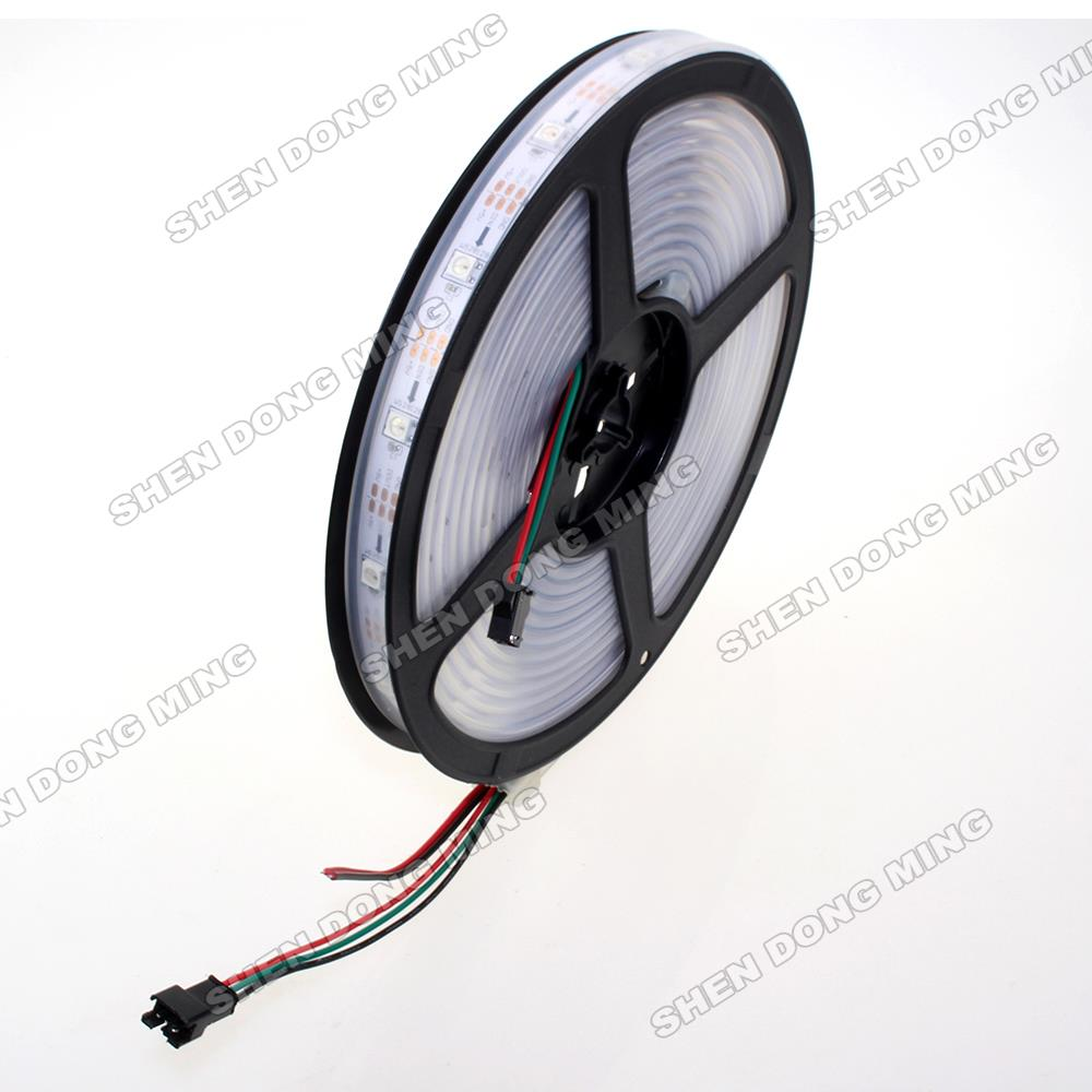 WS2812 5050 led strip lights 12V Waterproof IP67 PCB 2* 5m 30led/m 30 IC/m addressable digital dream color LED pixels strip(China (Mainland))