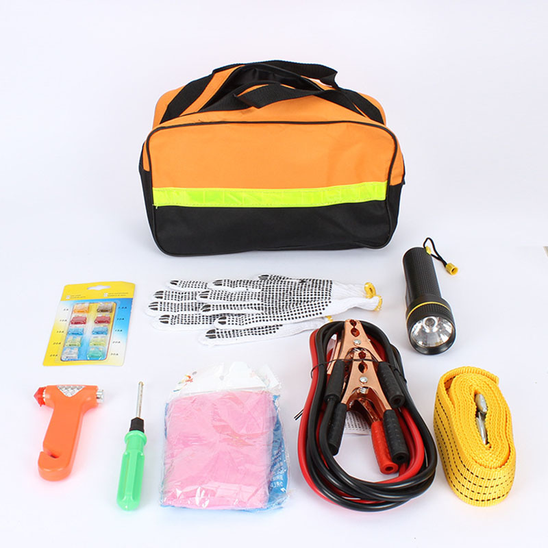 Car Emergency Kits 9 PCS Auto Roadside Emergency Tool Supplies Kit Bag Flashlight Car Breakdown Safety Equipment Survival Gear(China (Mainland))