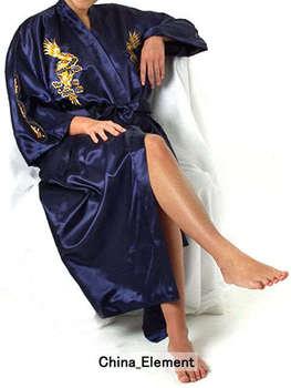 Темно-синий китайских женщин шелковый атлас одеяние вышивка кимоно ванна платье мухерес ...