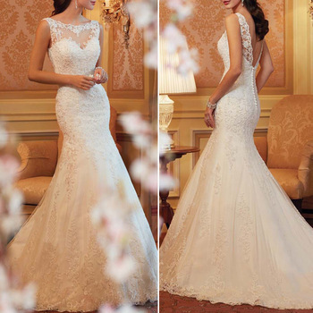 Women Lace Mermaid Wedding Dress 2015 New Fashion Plus Size Embroifery Sexy Long Floor-Length Dresses Vestidos De Noiva 025(China (Mainland))