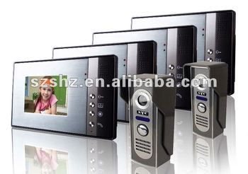 Wholesales 5.6'' color wired video door phone , intercom system 2 camera + 4 monitor