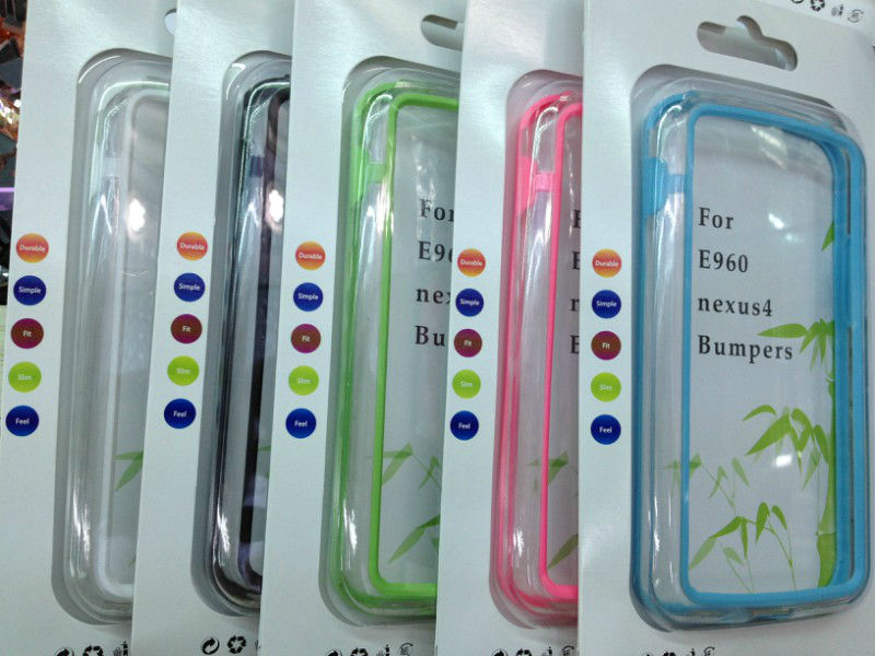 Newest! For LG Nexus 4 E960 Bumper Frame Bumpers TPU Case Silicone Crystal Skin With Retail Package Free Shipping(China (Mainland))