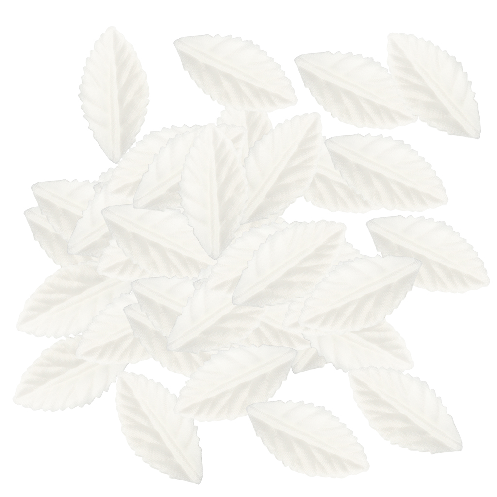 100 Pieces Silk Leaf White Leaves Flower For Wedding Party Home Decoration DIY Wreath Gift Scrapbooking Card Making