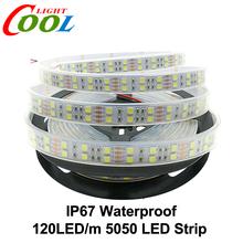 120 LEDs/m LED Strip 5050 DC12V Silicone Tube Waterproof Flexible LED Light Double Row 5050 LED Strip 5m/lot(China (Mainland))
