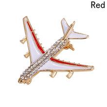 Paduan Pesawat Pin Bros Berlian Imitasi Pesawat Merah Bros untuk Wanita Hadiah Kualitas Pesawat Syal Gesper(China)