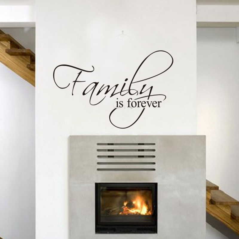 Family is forever home decor quotes wall decals decorative for Living room quote stickers