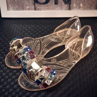 Hot New Plastic Rain Shoes Women Transparent Anti-Skidding Water Shoes Jelly Crystal Beach Shoes with Butterfly Rhinestone DR036(China (Mainland))