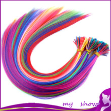 """20"""" 50-100Pcs/Lot 10 Mixed Color Long Straight Feather Loop Hair Extension Grizzly Strands Solid Colors Synthetic Hair Extension(China (Mainland))"""