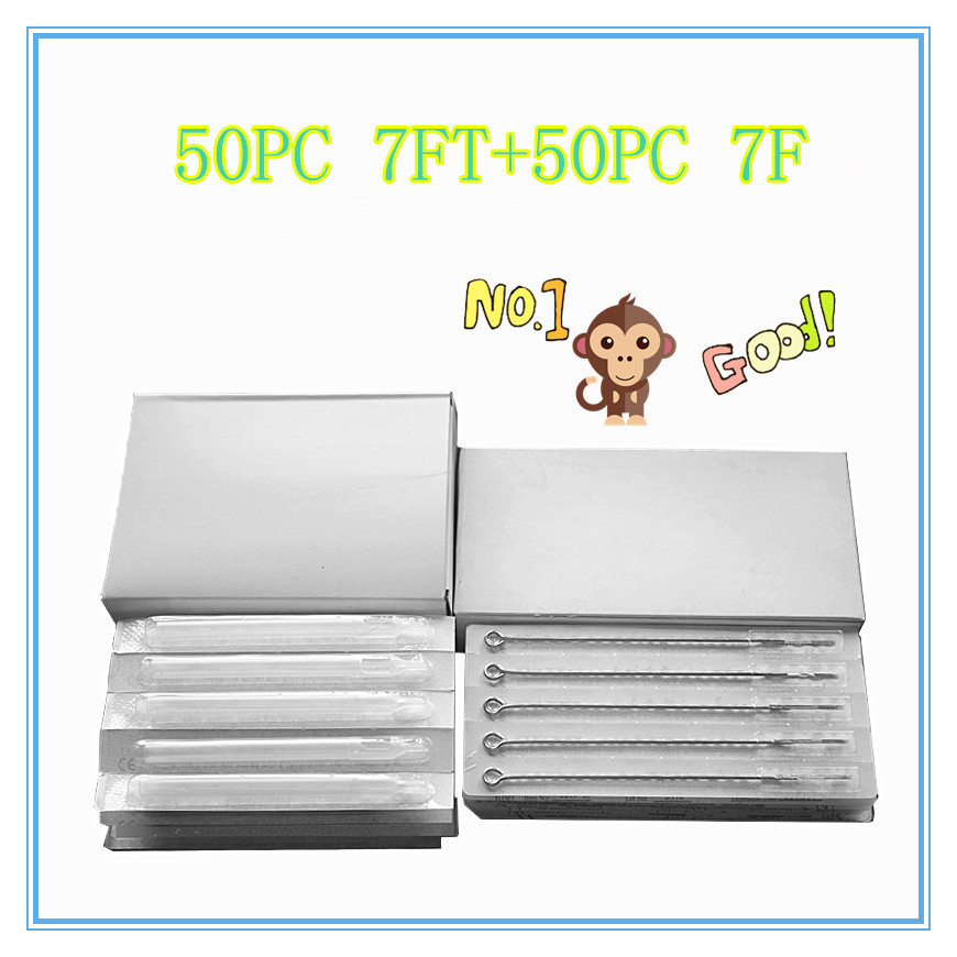 7FT+7F 50PCS white long Disposable Tattoo tips + 50 PCS Disposable Sterile Tattoo Needle Free shipping tattoo needle product