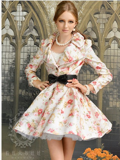 Free Shipping High Quality Pink Doll Hot Sale Rose Printed Turn-down Collar Single Breasted Long Trench Coat(China (Mainland))