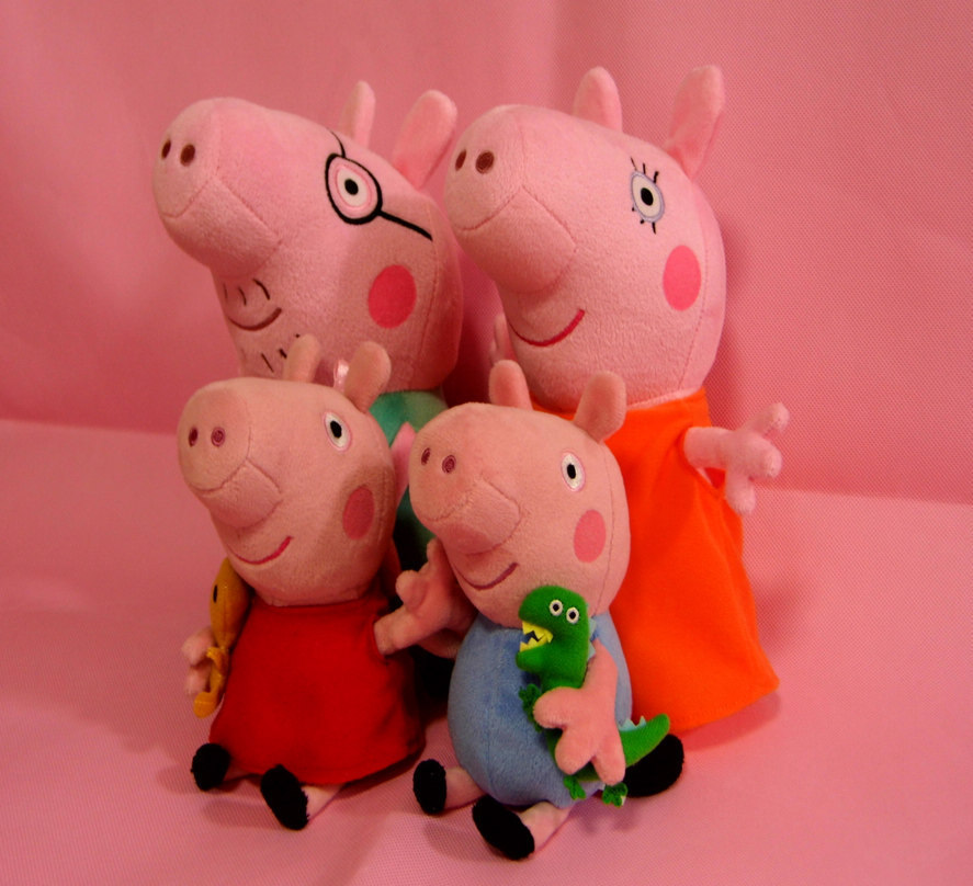 Peppa pig pink pig sister doll Pepe pig toy doll 19 -- 30 cm family pack(China (Mainland))
