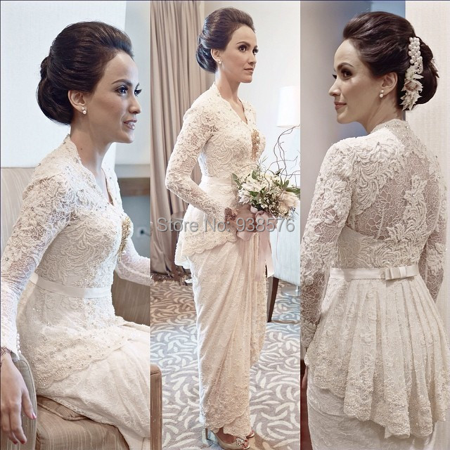 Buy elegant long cap sleeve lace sheath for Lace ankle length wedding dress