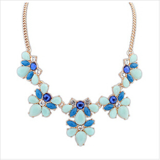 Factory Direct Fashion 2014 New Gold Plated Elegant Flower Crystal Choker Necklace Women Statement necklaces & pendants Gift 63