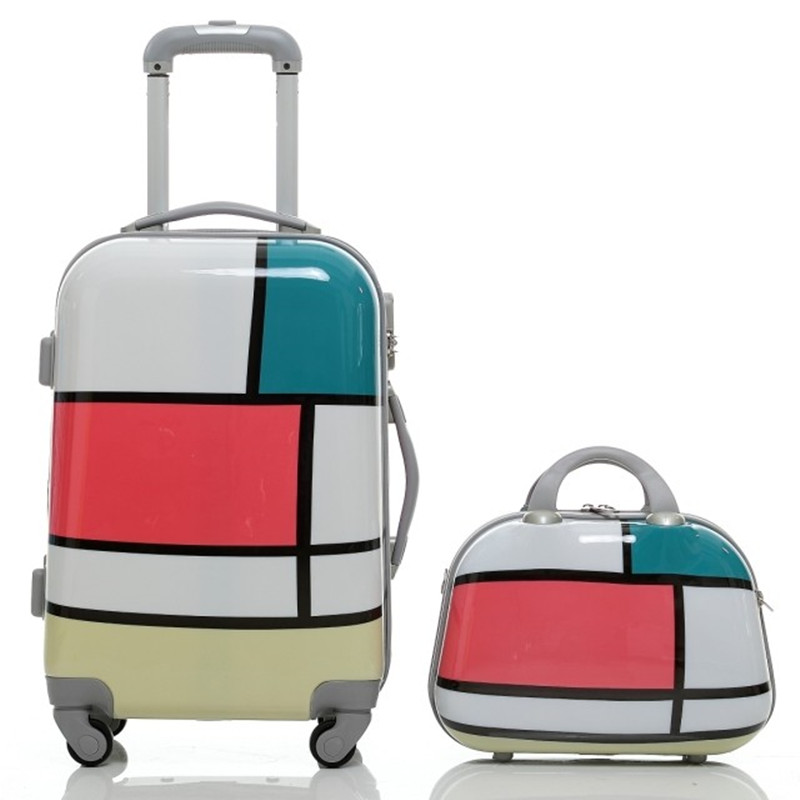 Fashion square grid color block decoration picture bags universal wheels trolley luggage abs pc travel bag 20
