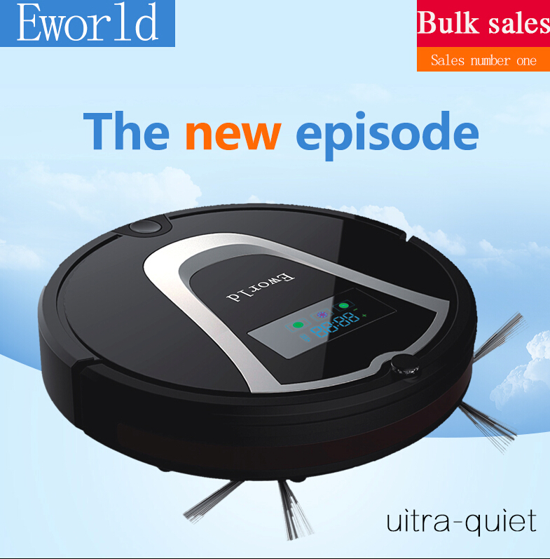 Eworld Mop Clean Automatic Intelligent Sweeping Robot Vacuum Cleaner M884 Black Color with Automatic Recharge, 2 Side Brushes(China (Mainland))