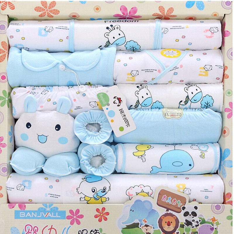 Genuine high quality 100% cotton newborn baby clothing sets 18pcs infants suit baby girls boys clothes apparel accessories(China (Mainland))