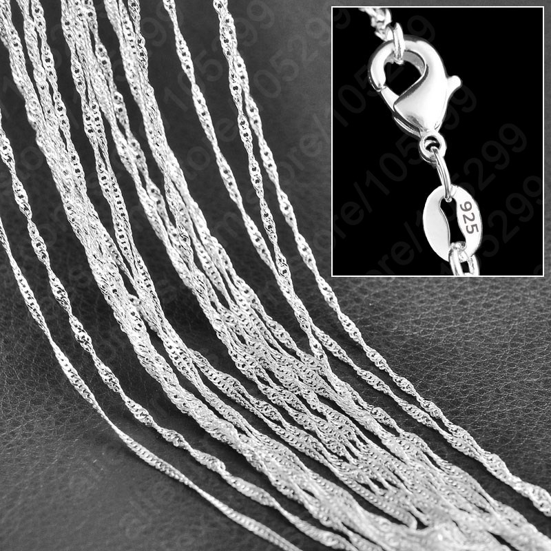"""Promotion Sales! Wholesale Solid 925 Sterling Silver Beautiful Water Wave Necklace Singapore Chain With Lobster clasps 16""""-30""""(China (Mainland))"""