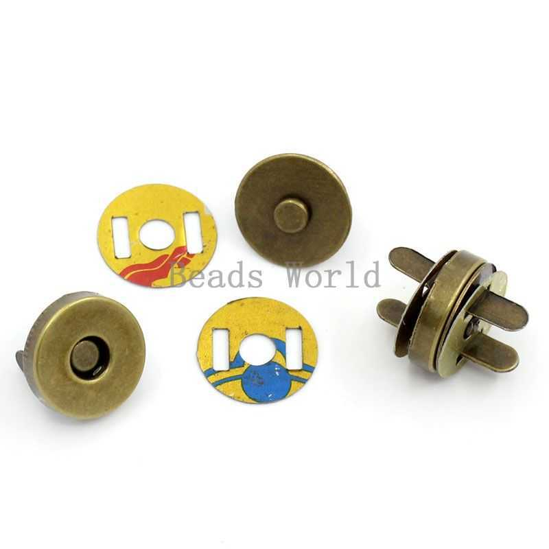 Wholesale 20 Sets Bronze Tone Magnetic Clasps Round Purse Snap Clasps/Closure 14mm Bag Findings For Purse Handbag (W03653 X 1)(China (Mainland))