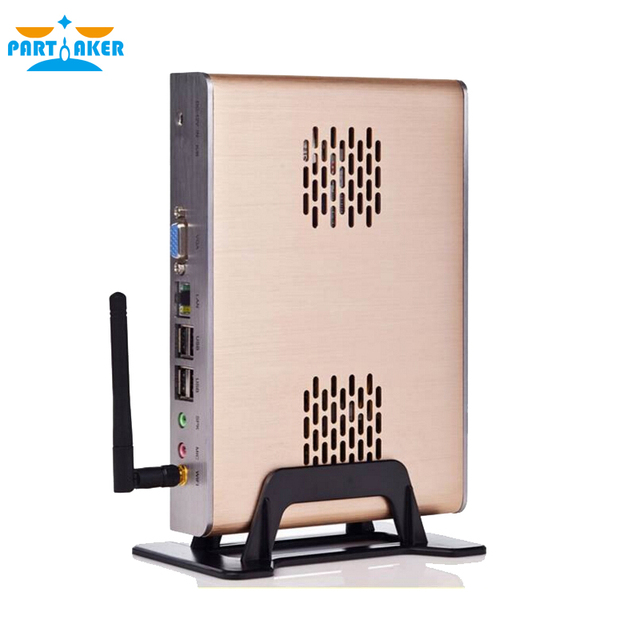 Intel Celeron C1037U aluminum fanless dual core living room HTPC Barebone Mini PC with USB 2.0 HDMI