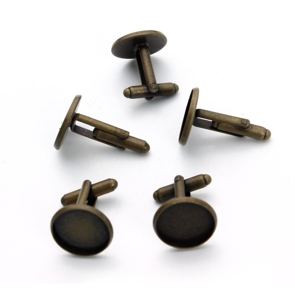 10pcs multi size cufflinks settings antique bronze blank