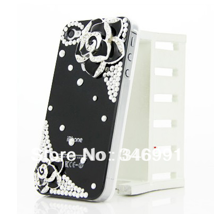 For iphone 4/4S DIY roses decorated simple diamond cell phone case free shipping(China (Mainland))
