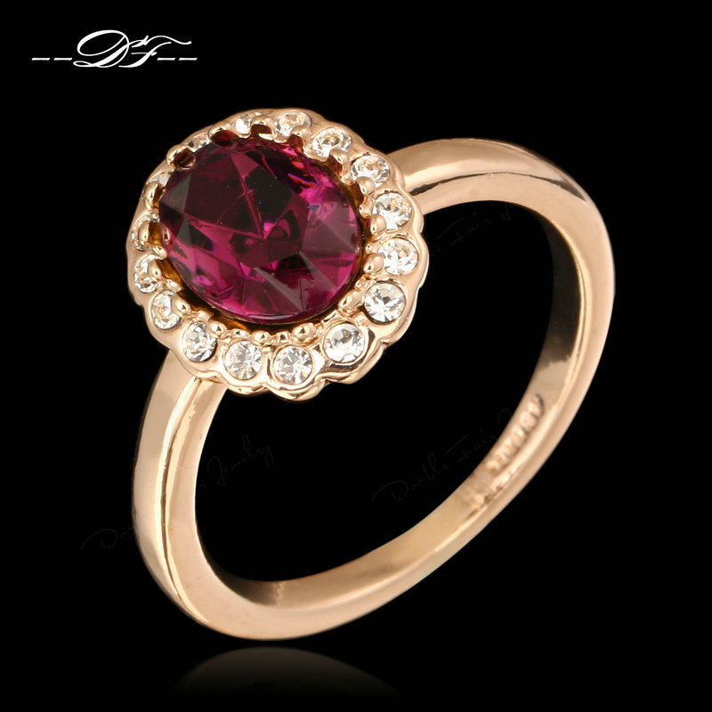 Purple Rhinestone Green Finger Rings Wholesale Rose Gold Plated Crystal Fashion Brand Wedding Jewelry For Women anel DFR362(China (Mainland))