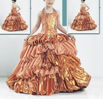 wholesale & retail Brown halter A-line beaded flower girl wear girl dress party dress Sky800