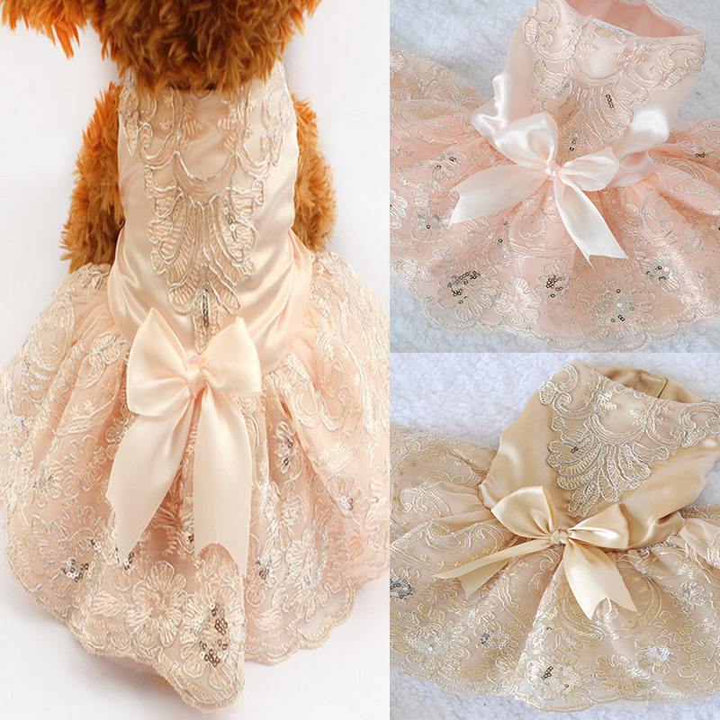 New Luxury Embroidered Dog Dresses Wedding Princess Dress For Dogs Pet Skirt Clothes Supplies Luxe Robe Princesse Chien Hot Sale(China (Mainland))