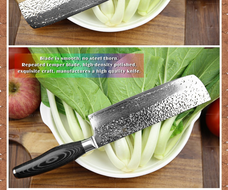 Buy XINZUO 2 pcs kitchen knives set Damascus kitchen knife set Japanese VG10 utility woman chef knife hammer striae free shipping cheap