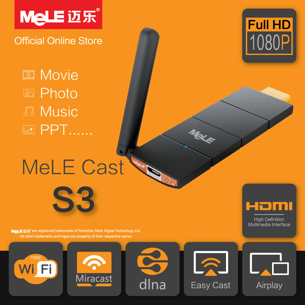 MeLE Cast S3 Miracast Dongle EZCast AirPlay DLNA Stream Media Player External WiFi Antenna HDMI 1080P for Android iOS Mac Winows