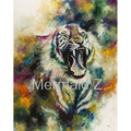 Hand Painted Modern Style Abstract Oil Painting Canvas animals tiger Bellicose painted Pictures Decorative Painting Wall