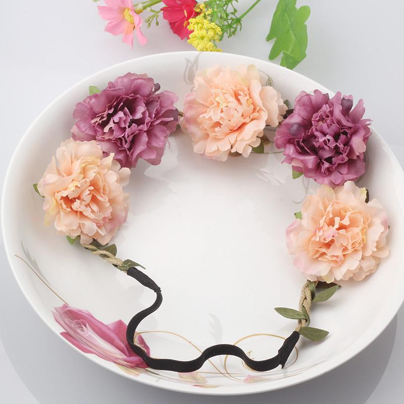 Fashion Women Bride Flower Headband Bohemian Style Floral Crown Hairband Ladies Elastic Beach Hair Band Leaf Hair Accessories(China (Mainland))