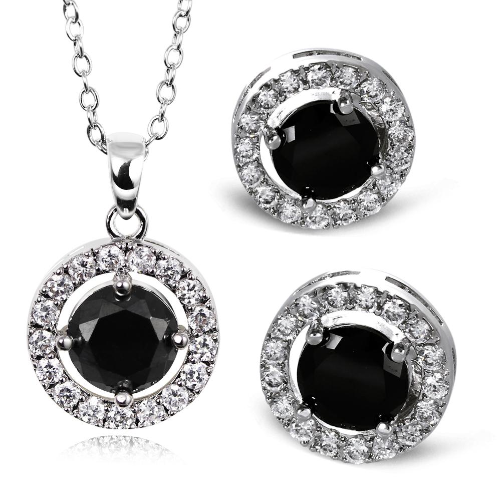 Fashion Secret New Cubic Zircon Pendant and Stud Earrings Jewelry Set Romantic Bridal Jewelry Nickel Free Platinum Plating Jet(China (Mainland))