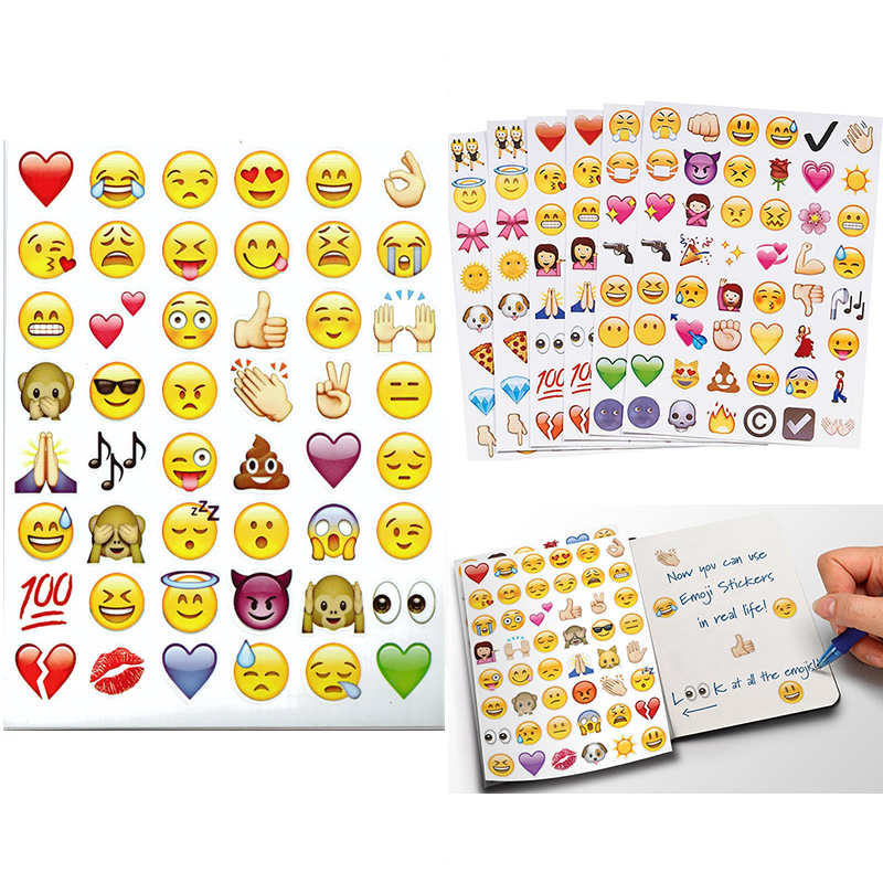 48 Die Cut Emoji Smile Face Sticker PackCellphone Tablet Laptop Decor Stickers(China (Mainland))
