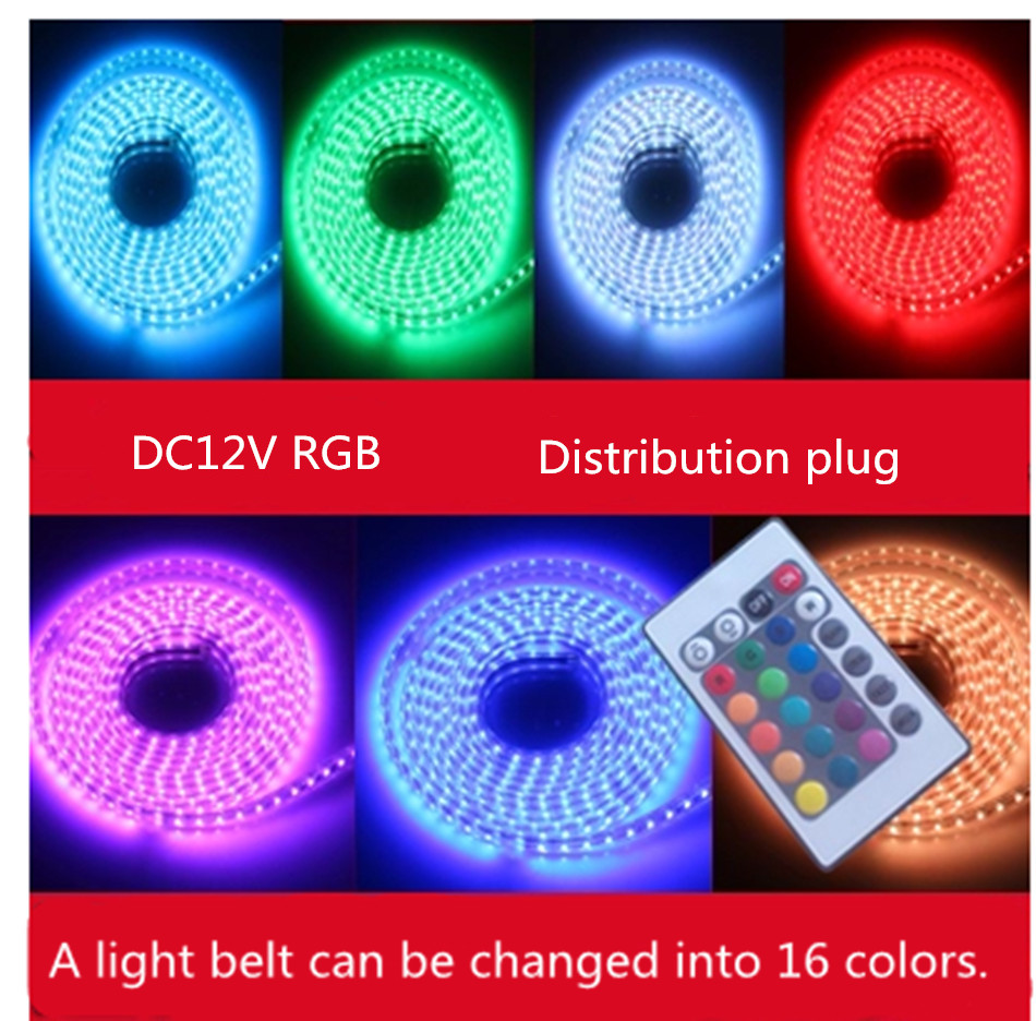 SMD RGB seven LED Strip Light DC12V 5050 lamp with ceiling living room 72 meters waterproof remote colorful light Pearl(China (Mainland))