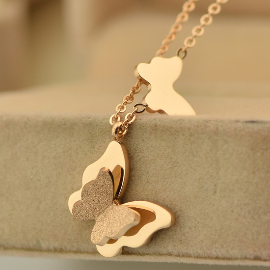SYN072 14k Rose gold Stainless steel Butterfly Pendants Necklaces for women fashion Jewelry accessories 2016 new(China (Mainland))