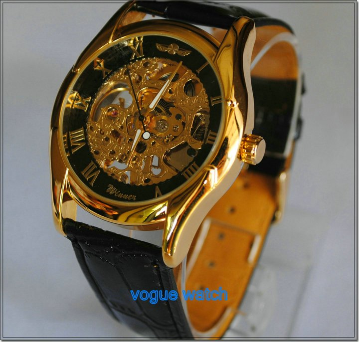 FREE SHIP !WINNER BRAND RUSSIAN GOLDEN BLACK SKELETON  HAND WIND MECHANICAL MILITARY WATCH MEN WOMEN  LEATHER BAND WHOLESALE(China (Mainland))