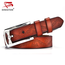 Buy DINISITON New Fashion Genuine Leather Belt Woman Vintage Floral Cowskin Belts Women High Strap Female Rhinestone Buckle for $8.96 in AliExpress store