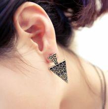 Fashion Hot Sale New Arrival Vintage Retro Bronze Triangle Decorative Pattern Earring E670(China (Mainland))