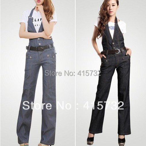 Free Shipping 2013 New Arrival Denim Jumpsuit For Women Bib Pants Casual Plus Size Straight OL Trousers Romper Jeans SuspendersОдежда и ак�е��уары<br><br><br>Aliexpress