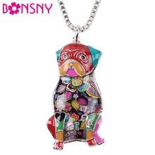 Buy Bonsny Statement Metal Alloy Enamel Pug Dog Choker Necklace Chain Pendant Collar Pendant 2017 Fashion New Enamel Jewelry Women for $5.19 in AliExpress store
